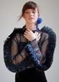 morhipoxsudi etuz Fırfırlı Metalik Desenli Tül Gömlek Mavi